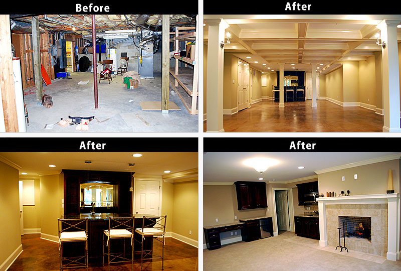sclf collage before after basement remodel - Before And After Home Remodel